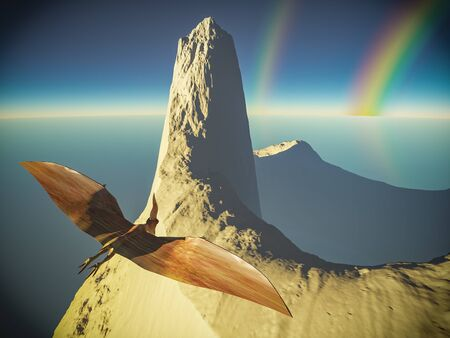Flying pterodactyl against the volcanic crrater 3d illustration
