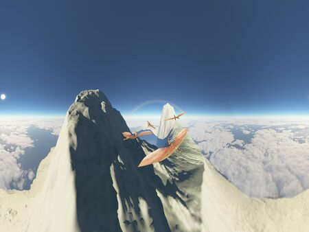 Flying pterodactyl against the volcanic crrater 360 panorama 3d illustration