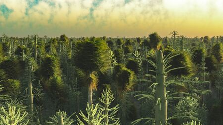 Dinasour forest in big resolution 3d rendering