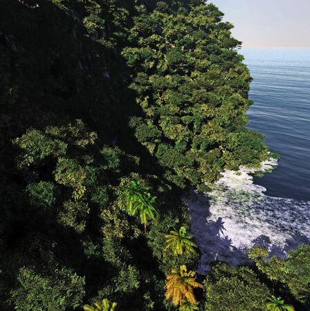 Paradise on Hawaii Island 3d rendering Reklamní fotografie - 147629142