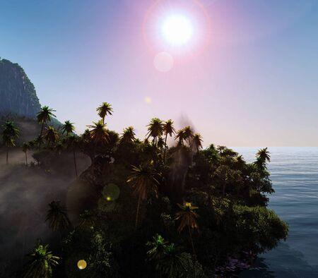 Paradise on Hawaii Island 3d rendering Reklamní fotografie - 147629026