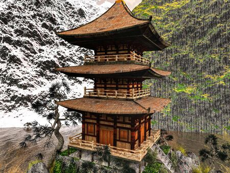Sun temple - Buddhist shrine in the Himalayas 3d rendering Reklamní fotografie - 148864419