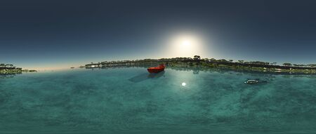 River estuary 360 panorama 3d rendering