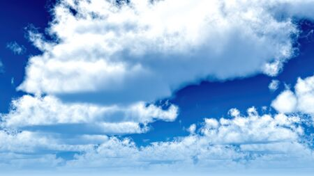 White clouds in blue sky 3d rendering