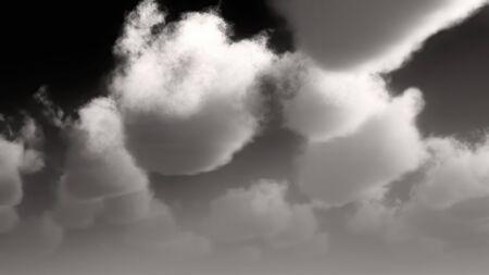 White clouds on black sky 3d rendering