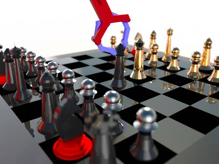 Robotic arm (artificial intelligence) playing chess 3d illustration