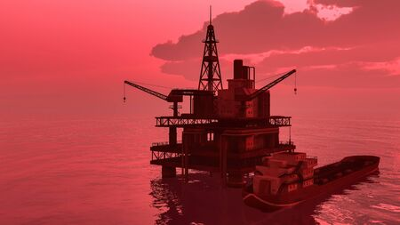 Offshore oil and gas rig platform with beautiful sky
