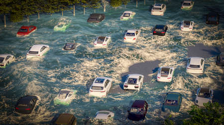 flooded road during a flood caused by tsunami 3d rendering Фото со стока