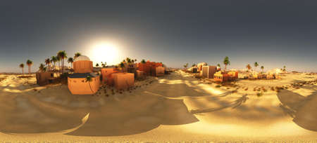 Arabic small town on desert in 360 panorama 3d rendering Фото со стока