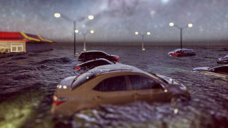 flooded road during a flood caused by heavy rain 3d rendering