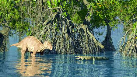 A green iguanadon dinosaur glade 3d rendering