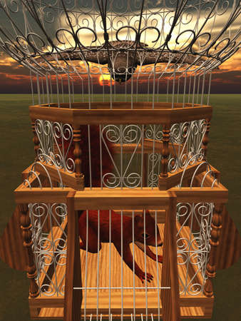 Hawk attacking squirrel in cage 3d rendering