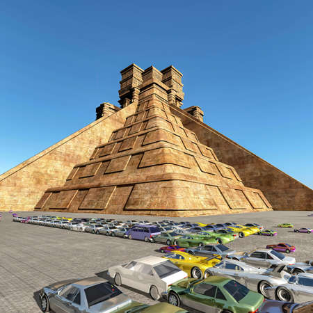 Mayan Pyramid surrounded by a huge paking lot filled with cars 3d rendering