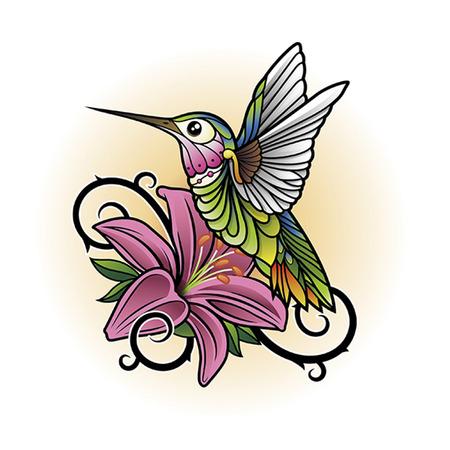 tatouage oiseau: colibri Illustration