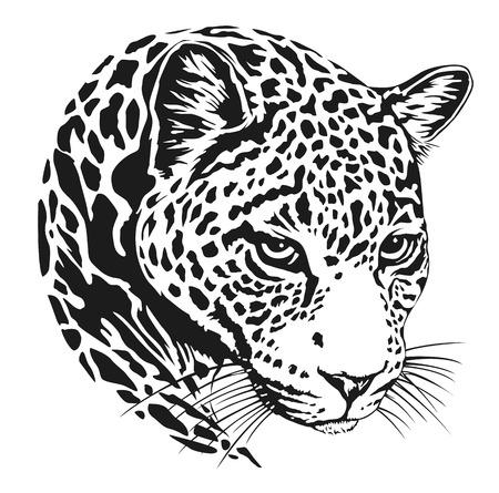 Leopard face tattoo ,Vector illustration, print  イラスト・ベクター素材