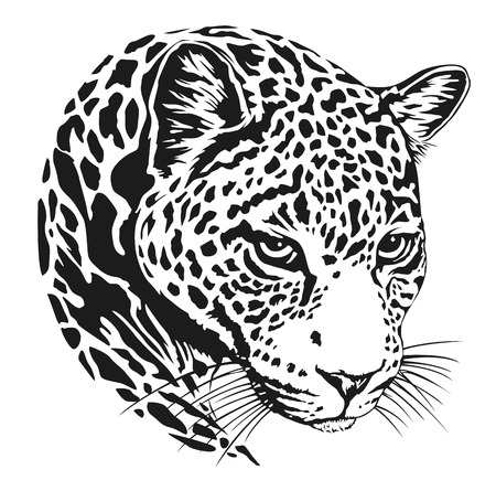 Leopard face tattoo ,Vector illustration, print Ilustracja