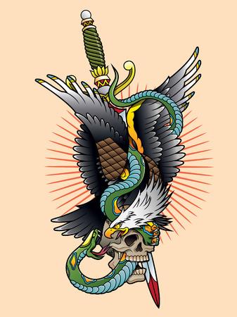 독수리와 뱀 색깔 일러스트