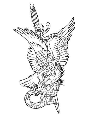 eagle and snake outline