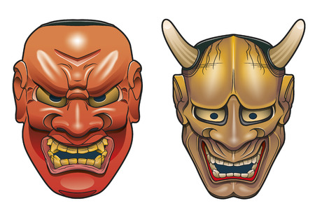 Two traditional japanese theater masks made of wood on white background Illustration