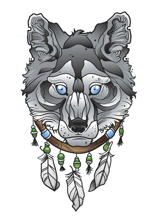 indium: Wolf head with dream catcher. Illustration