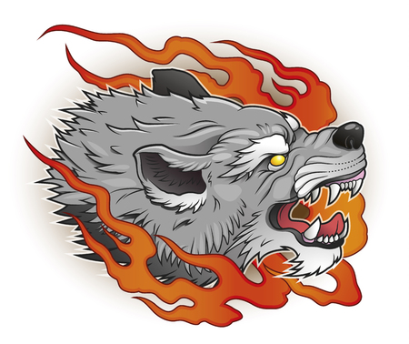 Wolf with flames. Illustration