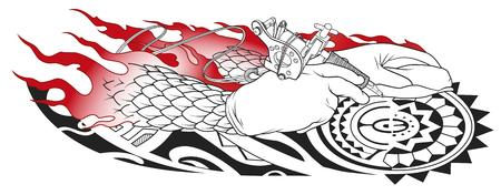 tattooists hands Illustration
