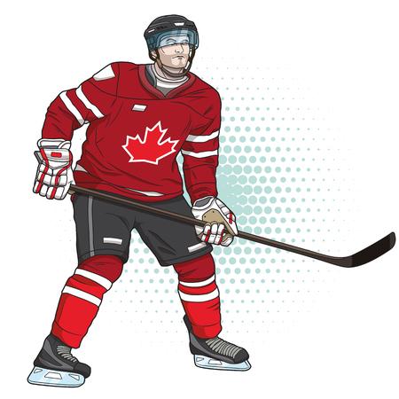 ijshockeyspeler Stock Illustratie