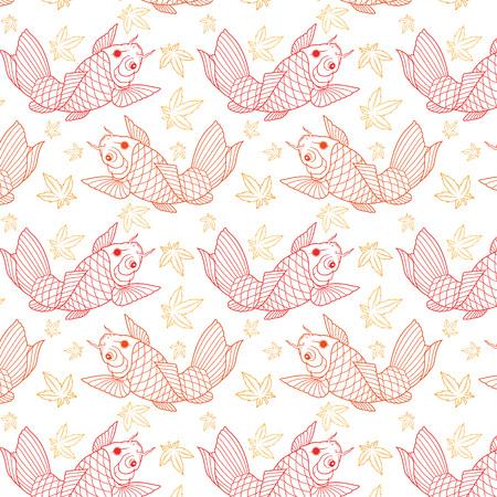 Japanese koi fish seamless pattern