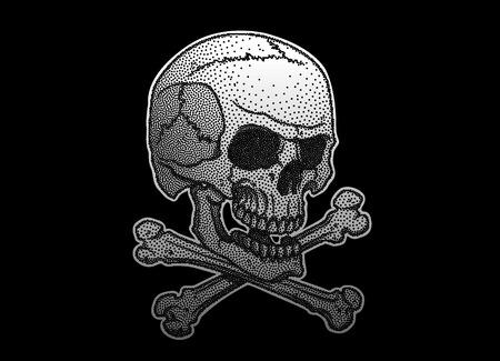 stipple skull and crossbones