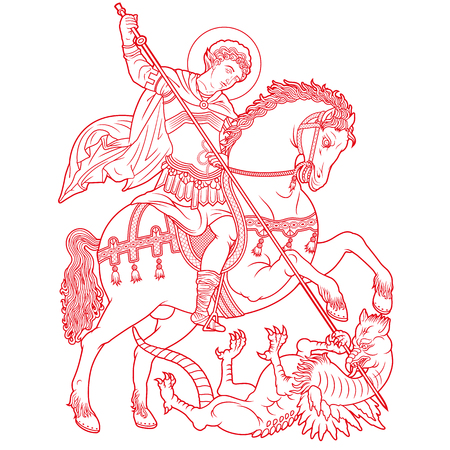 Saint George on horse slaying a dragon vector illustration Ilustração