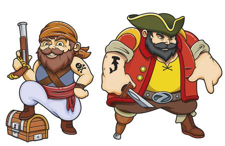 Colored cartoon sea pirates vector illustration set
