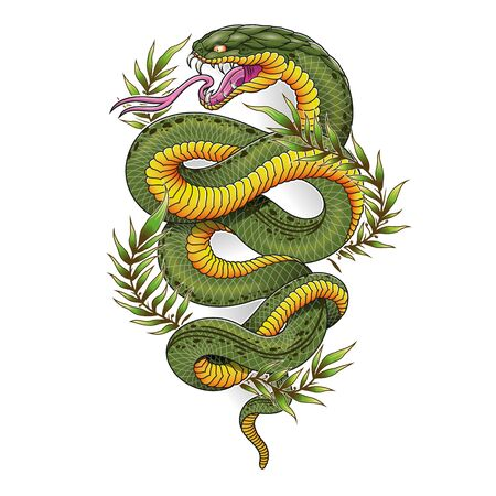Green oriental snake with laureal leaves tattoo vector illustration
