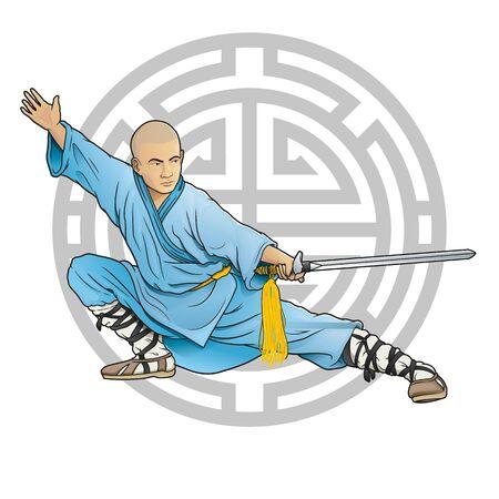 shaolin monk with sword and longevity symbol 向量圖像