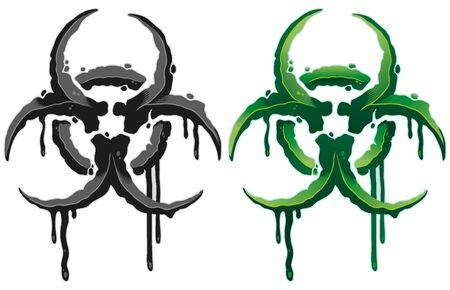 Colored detailed grunge biohazard symbol vector illustration isolated