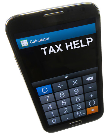 cpa: A cell phone with calculator,  Tax Help  is displayed
