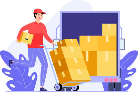 courier workers move the package boxes into the box truck flat illustration Vektoros illusztráció