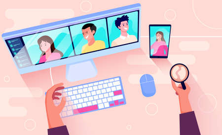 telecommunication concept of video conferencing vector illustration