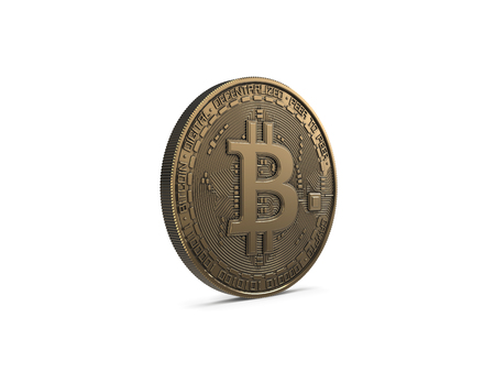Golden Bitcoin isolated on white background. 3D Rendering.