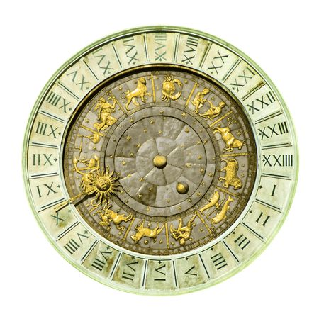 gemini: Ancient Venice clock tower in white background
