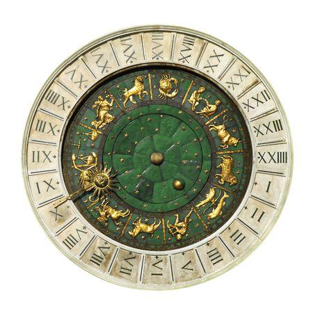 aries: Venecia antigua torre del reloj en el fondo blanco