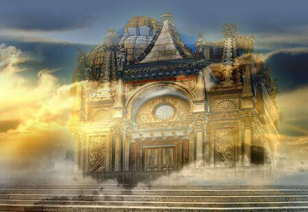 Venetian Castle - Italian imagination collage of surreal Stock Photo - 5226997