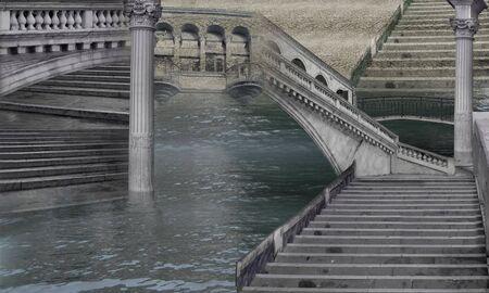 Stone`s Labyrinth - Italian imagination collage of surreal photo