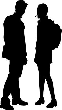meisje silhouet: Paar  Stock Illustratie