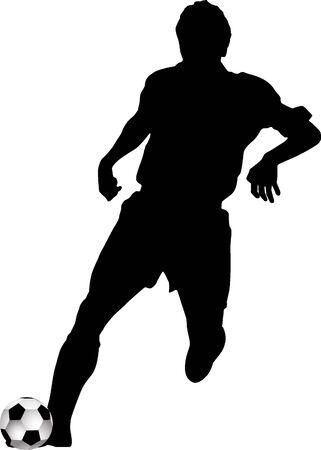 Silhouette footballer Vector