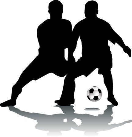 Silhouette footballers Stock Vector - 5611094