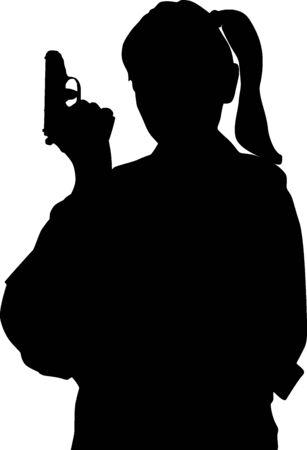 Woman with gun Stock Vector - 5611097