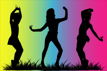frisk: Silhouette happy girls
