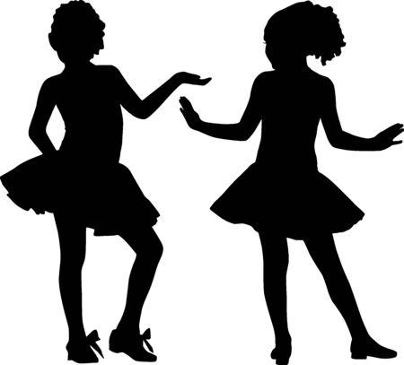 enfants qui dansent: Silhouette petits amis Illustration