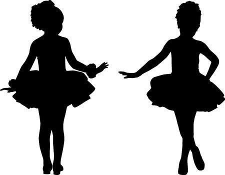 Silhouette small ballerinas Vector