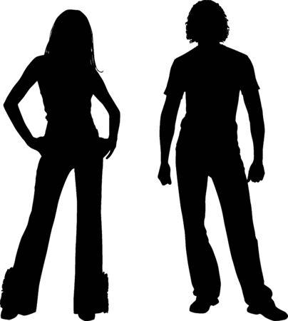 fad: Silhouette fashion couple Stock Photo